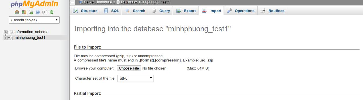 Giao diện phpmyadmin dùng để quản lý database.