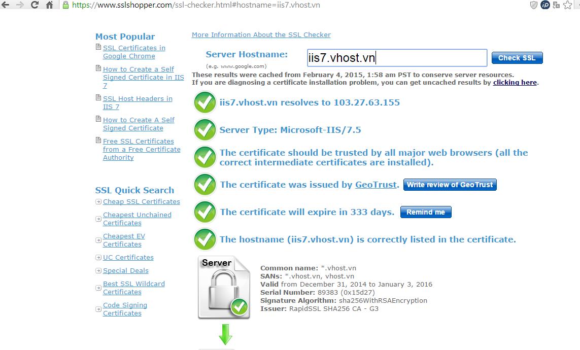 Hướng dẫn cài đặt SSL chạy webserver IIS trên Windows